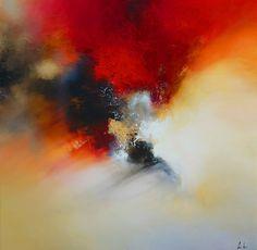 Groot Abstract olieverfschilderij door door SimonkennysPaintings