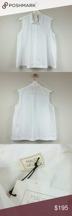 MAUD HELINE sleeveless swing top white Beautiful crisp white shirt by Maud Heline. Cotton poplin button down top. Fold collar. Front button closures. Intricate horizontal detail on back.  100% cotton. Color: white. Made in NYC.  Size: L Measurement will be added.  NWT. Never worn. Can provide more pictures and info upon request. Reasonable offer only please :) Maud Heline Tops