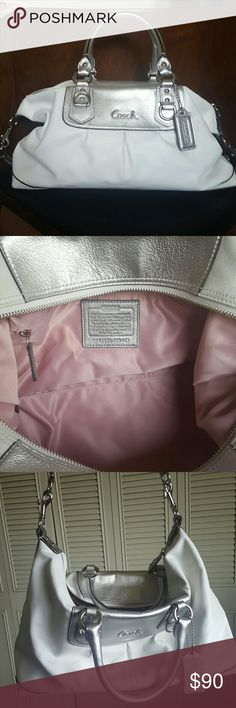 Coach handbag White and silver handbag with light pink interior. Like new condition, includes dustbag Coach Bags Satchels