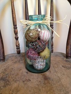 Primitive Decor  rag balls in large blue by PrimitiveVillage, $24.99
