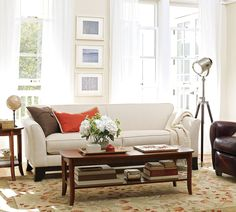 Living Room: Diy Pottery Barn Living Room Have Brown Furniture Leather Sofa With Wood Table Beside Round Lampshade On Round Nightstand Front Curtain Windows Above Laminate Flooring from 27 Extraordinary Inspirational Pottery Barn Living Room Ideas