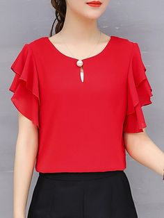 Summer Chiffon Women Round Neck Beading Plain Short Sleeve Blouses # Free Shippi Source by ootdBuyShoes clothes for summer American Fighter Shirts, Blouses For Women, T Shirts For Women, Women's Blouses, Coat Dress, Short Sleeve Blouse, Long Sleeve, Short Sleeves, Blouse Designs