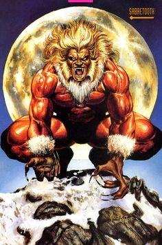 Sabretooth by Joe Jusko I remember this from the Marvel Trading cards when I was a kid Marvel Wolverine, Marvel Dc Comics, Comic Book Artists, Comic Book Characters, Comic Book Heroes, Marvel Characters, Comic Books Art, Comic Art, Skull Art