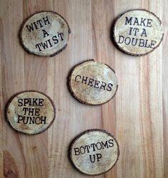 Wood Burned Coasters - I NEED a 'Make It A Double!' coaster, like, NOW.