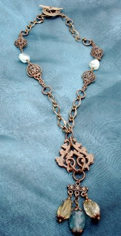 Aquamarine and Citrine Necklace, Gemstone Necklace with Vintaj Bronze Chain and Filigree Focal