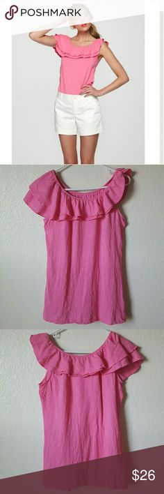 """Lilly Pulitzer Wynne top Lilly Pulitzer """"wynne top"""" in pink. Assymetrical ruffle detail at neck.   100% Pima cotton  Great used condition   Size large. Underarm to underarm just shy of 18"""" length 27.5"""" Lilly Pulitzer Tops Blouses"""