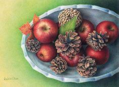 """COLORED PENCIL Magazine - Contests & Giveaways!: November CPM Art Challenge - #1211 """"Apples & Cones"""""""