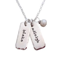 hammered edge tag necklace personalized for moms