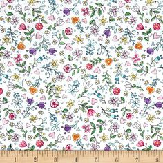 Michael Miller Tweet Me Bitty Blooms White from @fabricdotcom  From Michael Miller, shake off the winter blues with this cheerful cotton print collection. It features cute little birds, birdhouses, flowers, and other bright prints that are perfect for quilting, apparel, and home decor accents. Colors include white, shades of pink, purple, blue, green, and orange.