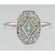 Online veilinghuis Catawiki: witgouden ring art deco stijl met briljant geslepen diamant en blauwe topaas