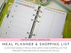 Meal Planning and Grocery List insert, Meal Planner, Meal Planner Insert, Grocery List, Meal Planner, Shopping List insert, INSTANT DOWNLOAD by LittleChiquiPaperie on Etsy