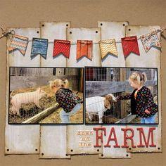 Barnyard Scrapbook | like the strips of barn paper | Scrapbooking