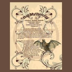 BAT MYTHOLOGY, Digital Download,  Book of Shadows Page, Grimoire, Scrapbook, Spells, Wiccan, Witchcraft, by MorganaMagickSpell on Etsy