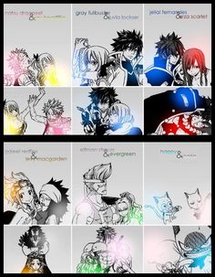 Fairy Tail couples - Natsu and Lucy - Gray and Juvia - Jellal and Erza - Gajeel and Levy - Elfman and Evergreen - Happy and Carla