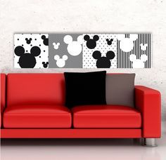 Mickey Mouse Disney living room - how easy would this be?! Click for lots of Disney-themed decorating ideas with Cheapskate Princess tips...