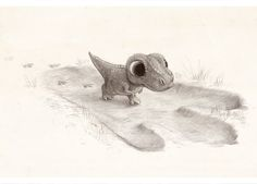 By Sydney Hanson.  Wait, seriously?  Why, why?  I can't stand all the cuteness!!!  Big-headed, big-eyed, eager baby T-rex. making ridiculously tiny footprints inside a huge one?  *sigh of surrender*