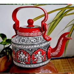 Hand-painted Kettle inspired by Pattachitra Art Form for Home Decor- acrylic paint Worli Painting, Circle Painting, Bottle Painting, Ceramic Painting, Bottle Art, Bottle Crafts, Acrylic Paintings, Diwali Decoration Items, Rangoli Designs For Competition