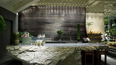 Internationaly based interior design firm Super Potato's official home page. Japanese Restaurant Interior, Restaurant Design, Restaurant Bar, Architecture Details, Interior Architecture, Interior Design, Reception Desk Design, Counter Design, Garden Cafe