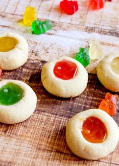 Gummy Bear Thumbprint Cookies.  Uses gummy bears instead of jam!