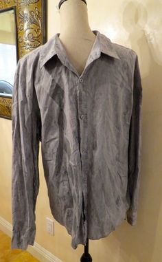 Mens Pop Icon Cotton Grey Button Down Long Sleeve Shirt, Size XL Harlequin Pattern with Very Fine Thin Red Lines on Front of Shirt