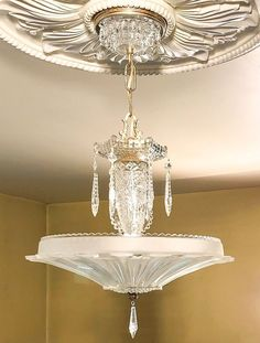 PAIR~Antique Art Deco Chandelier~Classic Sunflower Shade~Exquisite!