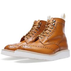 x Tricker's Vibram Sole Stow Brogue Boot (Acorn Antique Leather) Boot Brands, Men S Shoes, Brogues, High Top Sneakers, Shoe Boots, Menswear, Mens Fashion, Sunglasses, My Style