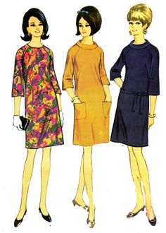 60s Vintage Sewing Pattern McCalls 8910 Dress in 3 versions Size 14 Bust 36