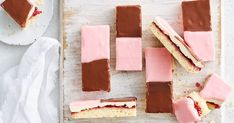 This slice pays homage to the classic Australian bakery treat neenish tart, with its layers of pastry, jam, mock cream and two-tone icing. No Bake Slices, Coconut Slice, Chocolate Slice, Tea Snacks, Buttery Biscuits, Strawberry Puree, Biscotti, Favorite Recipes, Kitchens
