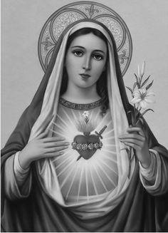Y al crespúsculo blanco de la aurora que llena el universo de alegría, y cuando el tibio sol las cumbres dora con el reflejo postrimer del dia , y á la luz de la luna inspiradora siempre de celestial melancolía , himno perpètuo de su amor levanta y al Dios que adora interminable canta. Catholic Art, Catholic Saints, Religious Art, Jesus Tattoo, Blessed Mother Mary, Blessed Virgin Mary, Tattoo Oma, Maria Tattoo, Psalm 42