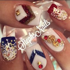 #white#red#blue#patrioticnails#goldwhiteglitterombre#custommix#lodinails#whitenails#glitterombre#chevronangels#notpolish#goldstuds#anchors#nautical#cutenails#stephset