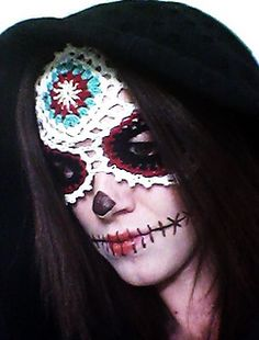 Sugar Skull Mask Crochet Pattern PDF Download Day of the Dead Halloween Celebrate Día de Muertos Costume Dress Up Fantasy Photo Prop Party