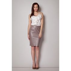 Leather Coffee Skirt With Back Layer Zipper LAVELIQ