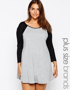 Club L Plus Size Baseball Jersey Swing Dress - grey/black