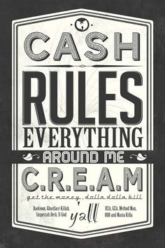 art  cash  cream  design  gangsta  grafik  lyric  money  print  retro  rules  style  typo  typographie  typography  vintage  yall