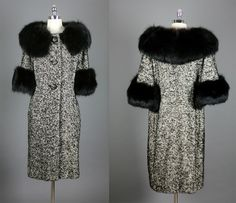 Vintage  50s 60s Elegant Fox Fur Wool Coat