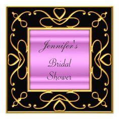 Bridal Shower Pink Black Art Deco Wedding Custom Invites