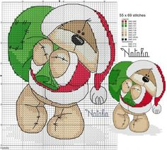 Graficos de osos navideños en punto de cruz04
