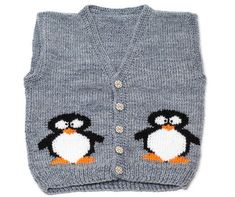 Original hand-knitted baby waistcoat, girl/boy fashion, kitten