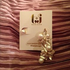 FLASH SALEBeautiful clustered earring set Two pieces- one glass pearl stud and one glass pearl and crystal clustered ear cuff. Nickel and lead free T&J Designs Jewelry Earrings