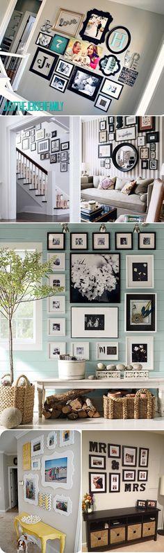 Photos wall arrangement ideas... great stuff!