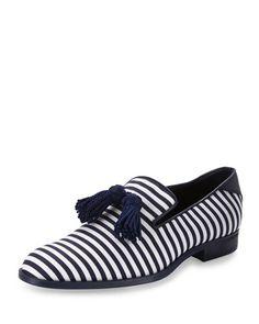 JIMMY CHOO Foxley Men'S Striped Tassel Loafer, Blue/White. #jimmychoo #shoes #flats