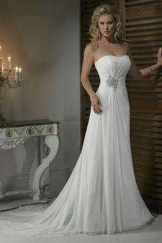 Robe de mariée nature romantique chic avec sans manches a-ligne
