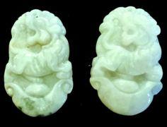 Natural Jadeite Light Celadon Green Jade Tablets/Pendants (7144) (Pair)