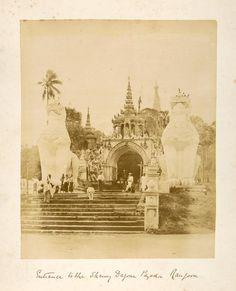 Entrance to the Shawy Dagone Pagoda, Rangoon. From New York Public Library Digital Collections. History Of Myanmar, Yangon, Mandalay, New York Public Library, Southeast Asia, Old Photos, Egypt, Taj Mahal, Entrance