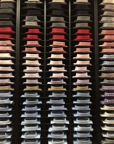 Colored men's dress shirts as repetition and pattern