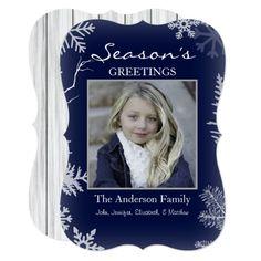 Blue Snowflake Rustic Wood Holiday Card
