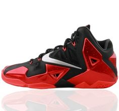 7c0988abb6f HO398 Nike Lebron XI 11 Black red Basketball Shoes NA340126