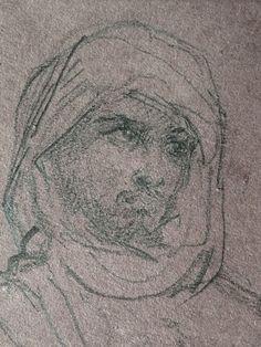 CHASSERIAU Théodore,1846 - Arabe debout, retenant un pli de son Burnous - drawing - Détail 24