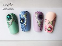 Cute Nail Art Designs, Beautiful Nail Designs, Manicure Nail Designs, Nail Manicure, Nail Swag, Nail Art Wheel, 3d Acrylic Nails, Almond Nail Art, Nail Art Techniques