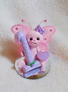 butterfly cake topper birthday Christmas ornament   polymer clay personalized 1 1st first gift